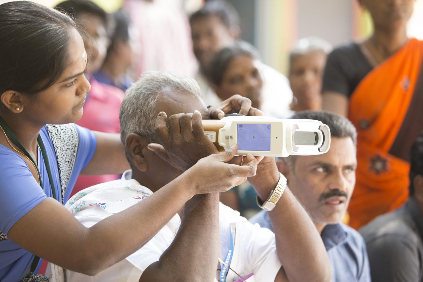QuickSee handheld autorefractor in use in India vision care